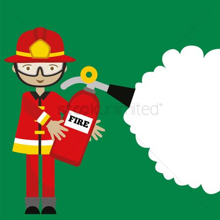 Fire extinguisher : Firefighter with fire extinguisher