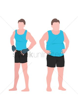 Posing : Fit man and fat man comparison