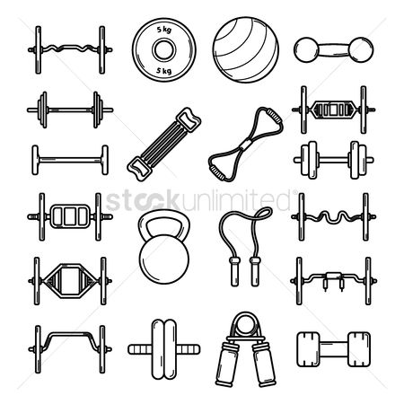 Roller : Fitness equipment icons