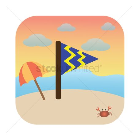 Zig zag : Flag on the beach