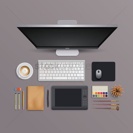 Beverage : Flatlay of computer desk