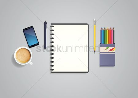 Cup : Flatlay of stationeries