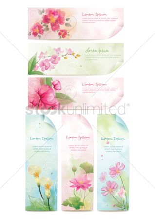 Banners : Floral banner set