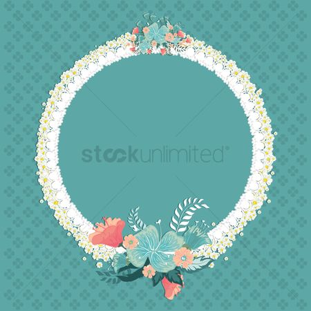Circular : Floral frame with copyspace