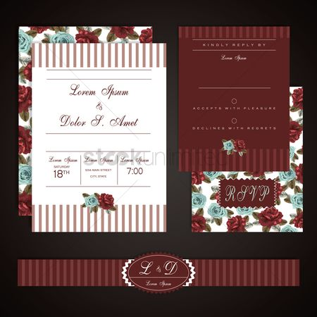 Borders : Floral wedding card design