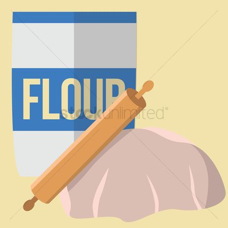 Flour : Flour and rolling pin