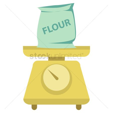 Flour : Flour on weighing scale