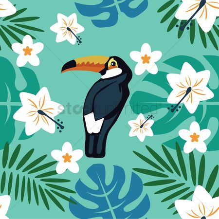 Birds : Flowers with toucan background