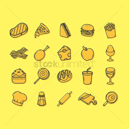 Topping : Food and beverage icons set
