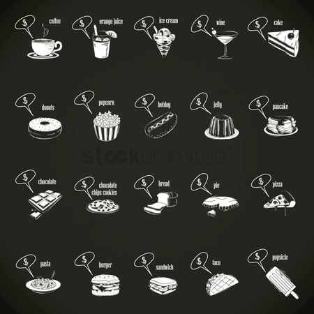Cup : Food and beverages with speech bubble set
