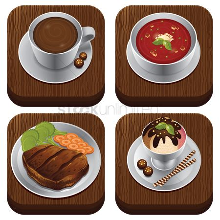 Coffee cups : Food item set