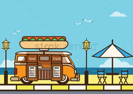 Truck : Food truck at beach