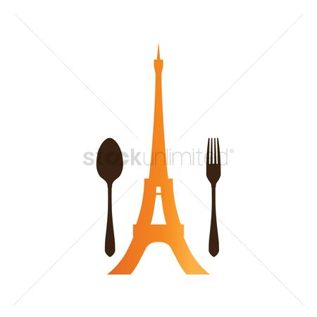 Cafe : Fork and spoon with eiffel tower