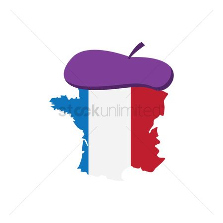 Beret : France map with beret hat