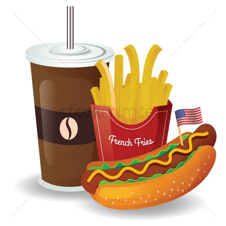 Sausage : French fries with hot dog and coffee