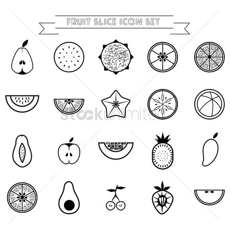 Mangoes : Fruit slice icon set