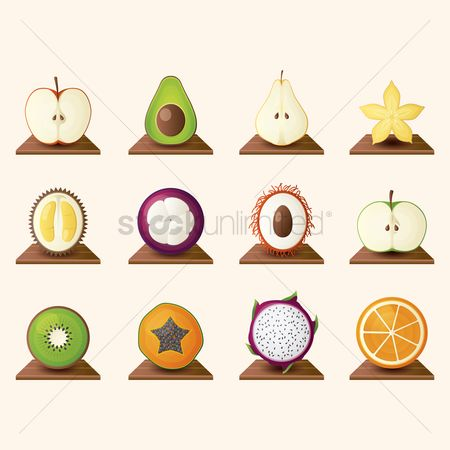 Healthy eating : Fruits icon set