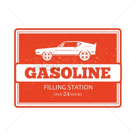 Oldfashioned : Gasoline filling station sign