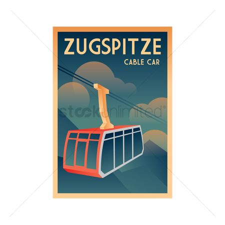 Skiing : Germany poster design - zugspitze cable car