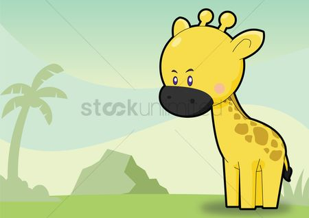 Zoos : Giraffe over a sky background