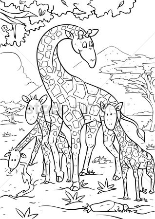 Sketching : Giraffe with giraffe calves