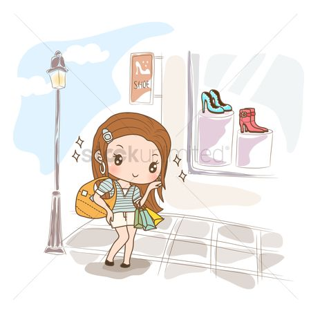 Footwears : Girl at shoe shop