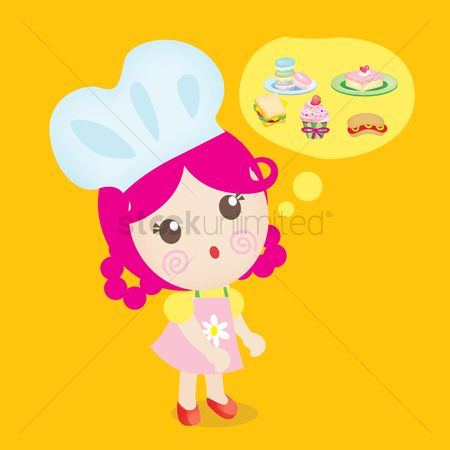 Macaron : Girl chef thinking of food