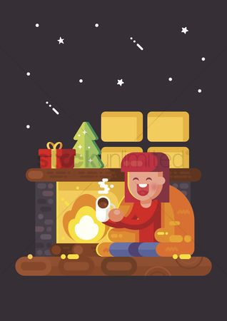 Indoor : Girl enjoying hot drink by the fireplace
