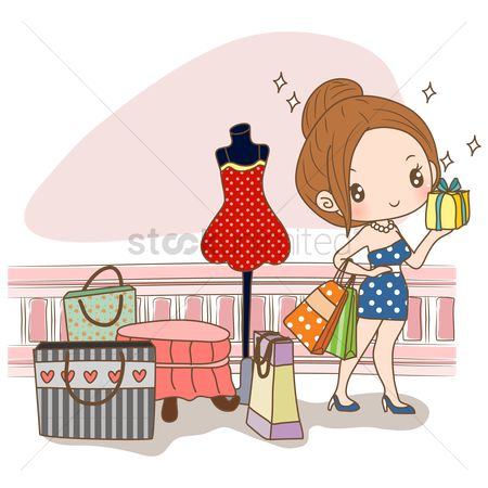 Shops : Girl holding gift box