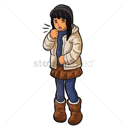 Skirt : Girl in winter wear coughing