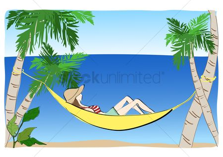 1521133 Hammock Girl Napping On A By The Beach