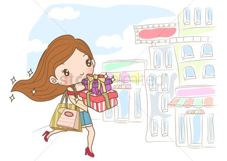 Handbags : Girl running on street with gift boxes