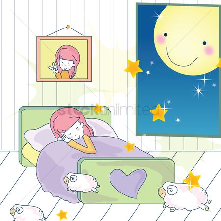 Moon : Girl sleeping on bed
