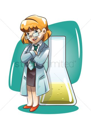 Chemicals : Girl standing next to a beaker