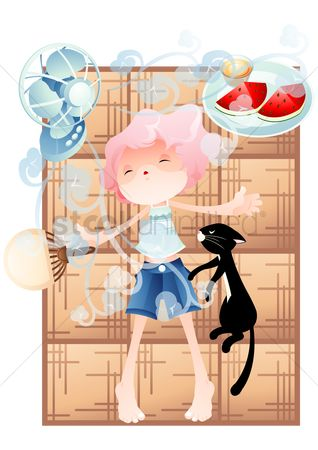 Watermelon : Girl taking a nap with cat