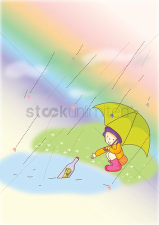 Umbrella : Girl taking bottle with message from river