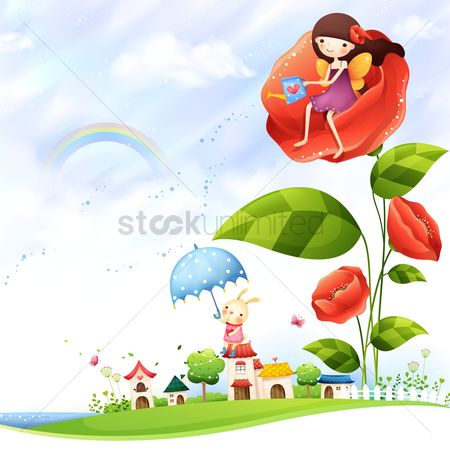 Umbrella : Girl using a watering can from a flower