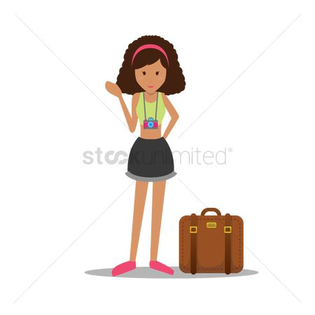 Shutters : Girl with luggage and camera
