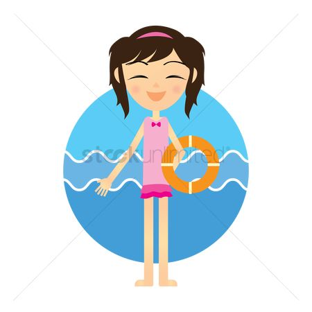 Happy summer : Girl with the swimming tube