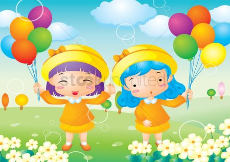 Kids : Girls holding balloons