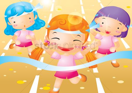 Champions : Girls running on race track