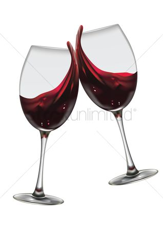 Alcohols : Glasses of wine