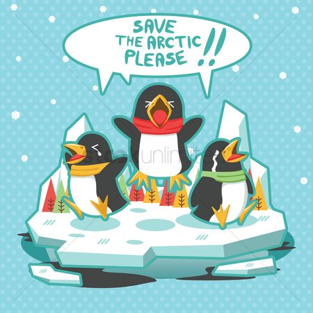 Save trees : Global warming concept with penguins