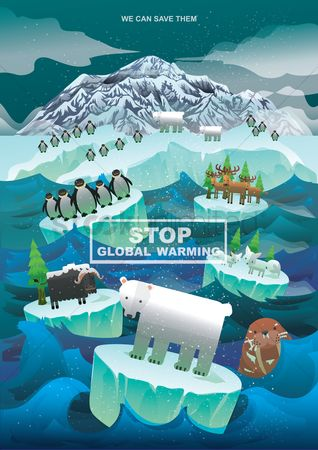 Bear : Global warming concept