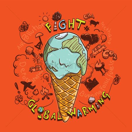 Cream : Global warming concept