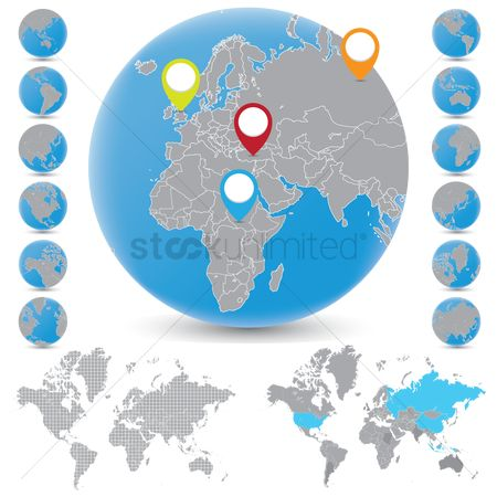 America : Globe and world map with location indicator