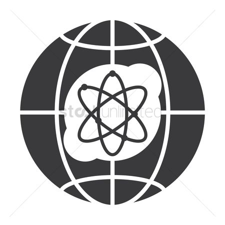 Molecules : Globe icon with atomic symbol