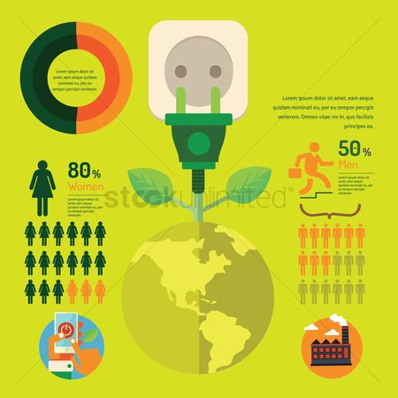 Power button : Go green infographic