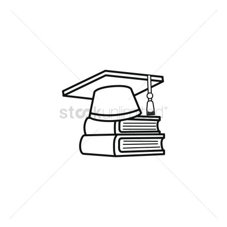 Hats : Graduation cap on books