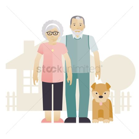 Grandparent : Grandparents with a dog